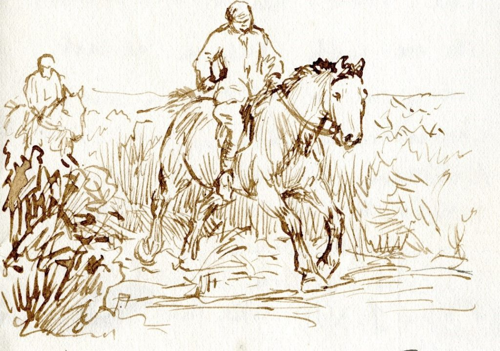 Drawing of a horse being ridden through the countryside by Brian Hatton - Herefordshire artist