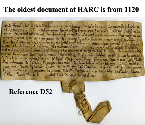 Oldest document in the Herefordshire Archives (ref:D52) c1120