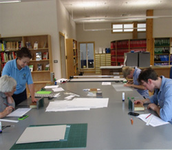 Repairs and Conservation in the library at in HARC